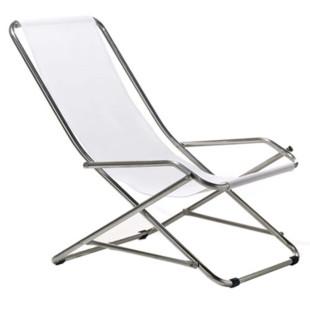 Strandstuhl DONDOLINA in weiß von FIAM. Bequemer, komfortabler Outdoor-Sessel. Für Strand, Garten oder Badesee!