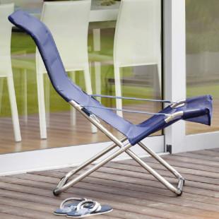 FIAM Strandstuhl FIESTA mit blauem, wetterfestem Textilenbezug. Der bequeme, klappbare Sessel für den Garten, Badesee oder Strandurlaub.