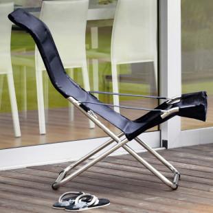 FIAM Strandstuhl FIESTA mit schwarzem, wetterfestem Bezug. Der klappbare Sessel ist ideal für den Garten, Badesee oder Strandurlaub.