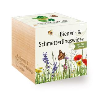 Bienen- und Schmetterlingswiese Pflanzwürfel ecocube von Feel Green. Holzwürfel mit Blumensamen.