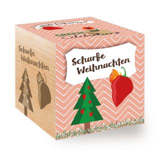 Scharfe Weihnachten im Pflanzwürfel! Das perfekte Geschenk für alle die es zur Weihnachtszeit scharf mögen. Die Chili zum selber Züchten, geliefert im Holzwürfel.
