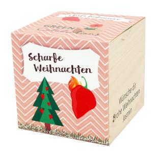 Chili Habanero im Holzwürfel - Scharfe Weihnachten, personalisiert