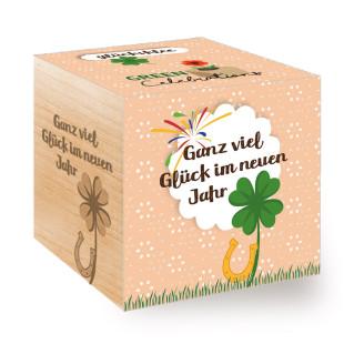 Pflanzwürfel / Holzwürfel mit Pflanze Glücksklee - Silvester, Neujahr