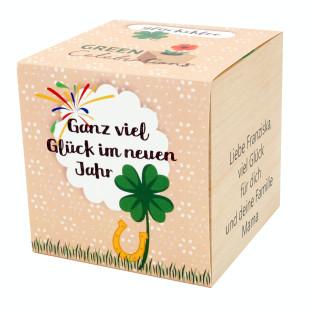 Glücksklee im Holzwürfel - Ganz viel Glück im neuen Jahr, personalisiert