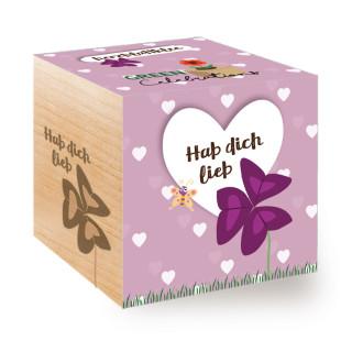Blumige Liebesbotschaft! Herzblattklee zum selber Züchten aus dem Pflanzwürfel von Feel Green. Mit Spruch-Botschaft: Hab dich lieb!