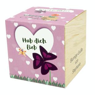 Herzblattklee im Holzwürfel - Hab dich lieb, personalisiert