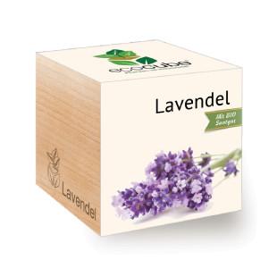 Lavendel ecocube Holzwürfel von Feel Green mit persönlicher Gravur