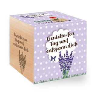 Pflanzwürfel mit Pflanze Lavendel im Holzwürfel - Genieße den Tag und entspann dich - Geschenk und Mitbringsel zum Entspannen!