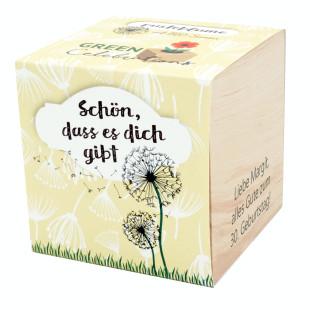 Pusteblume im Holzwürfel - Schön dass es dich gibt, personalisiert