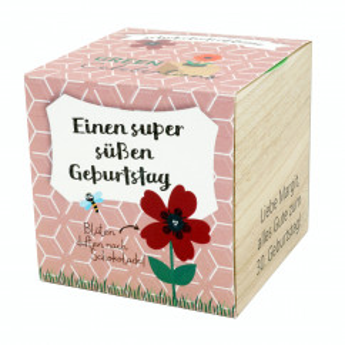 Schokoladenblume im Holzwürfel - süßen Geburtstag, personalisiert