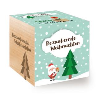 Bezaubernde Weihnachten verspricht der GREEN CELEBRATIONS Christbaum im Holzwürfel zum selber Züchten. Weihnachtsbaum im Pflanzwürfel.