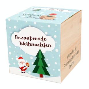 Weihnachtsbaum im Holzwürfel - Bezaubernde Weihnachten, personalisiert
