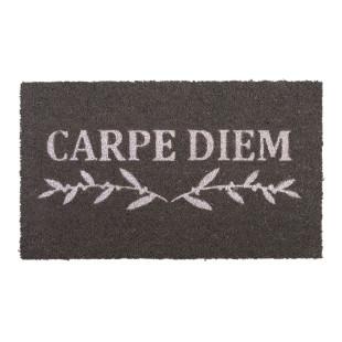 Graue Fußmatte aus Kokusfasern mit Schriftzug CARPE DIEM von Gift Company