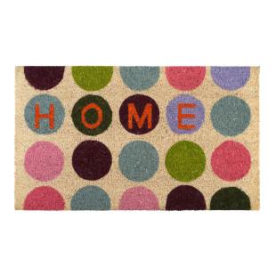 Bunte Fußmatte mit farbigen Punkten aus Kokusfasern von Gift Company - Modell HOME