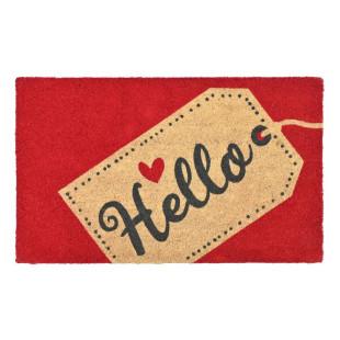 Rote Kokos-Fußmatte mit Hello-Print und Herzchen Motiv von Gift Company. Schmutzfangmatte aus Vinyl mit Kokosfasern.