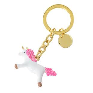 Gift Company Einhorn Schlüsselanhänger TROPICAL PUNCH aus Metall (gold-pink-weiß).