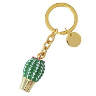 Gift Company Schlüsselanhänger cactus aus der Serie TROPICAL PUNCH. Design Schlüsselanhänger mit Kaktus in gold mit grünen Applikationen..