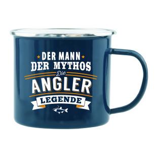 Spruchtasse / Henkeltasse mit Spruch Der Mann, der Mythos, die Angler-Legende. Geschenk für Angler.