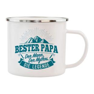 Spruchtasse für Papa´s: Henkeltasse mit Spruch Bester Papa - Der Mann, der Mythos, die Legende. Geschenk für Papa