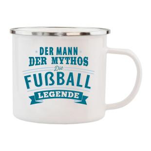 Spruchtasse / Henkeltasse mit Spruch Der Mann, der Mythos, die Fußball Legende. Geschenk für Fußballer.