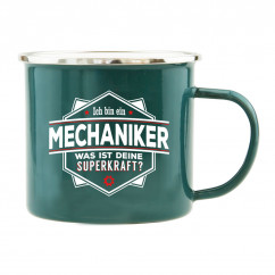 Spruchtasse für Handwerker / Henkeltasse mit Spruch Ich bin Mechaniker, was ist Deine Superkraft?. Geschenk für Mechaniker.