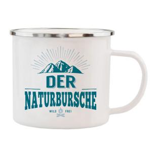 Becher Spruchtasse für Wanderer - Metall Emaille Tasse für Naturburschen.