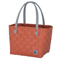 Tasche Color Block in orange-rot - canyon clay - mit Ledergriff von Handed By.