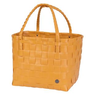 Honiggelber Shopper Paris von Handed By. Design Henkeltasche geflochten. Nachhaltig und sozial hergestellt.
