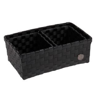 3-teilige Korbset VOLTERRA in schwarz von Handed By. Badkörbchen für Schmuck, Make Up, ... . Korb Kunststoff geflochten.