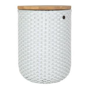 HALO Beistelltisch, Hocker + Korb hellgrau - geflochten mit Holzplatte. Fair, nachhaltig und sozial produziert - Handed By.