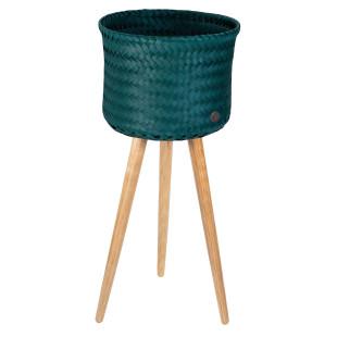 Pflanzständer BASKET UP HIGH 60 cm blaugrün. Handed By Übertopf mit Holzfüßen - Flechtkorb für Blumen und Pflanzen.