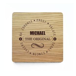 Bierdeckel / Glasuntersetzer aus Holz mit Gravur