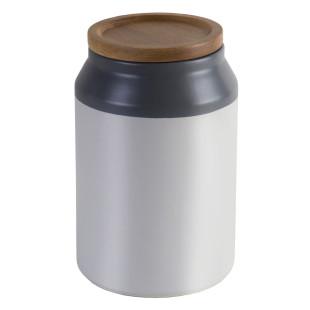 Keramikdose in grau und weiß mit Holzdeckel von Jamie Oliver.
