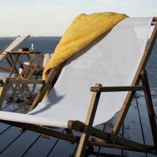 Liegestuhl Deckchair aus Teak, Textilen-Bezug weiss