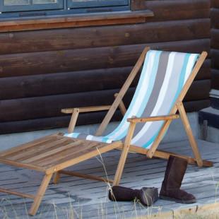 Liegestuhl Deckchair mit Fußteil Streifen Tarifa