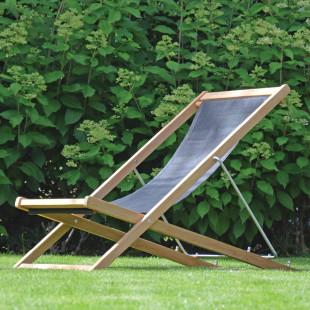 Deckchair Liegestuhl NIZZA aus Teak mit schwarzem Bezug von Jan Kurtz Möbel.