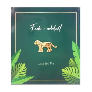 Ansteck-Pin Luxus Leo - Jungle Empire - Leopard mit High Heels - Anstecker - auf Trägerkarte mit Schriftzug fashion addict.