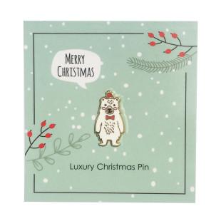 Eisbär Anstecker LUXUS Christmas Pin von Jungle Empire - Fashion Anstecker auf Trägerkarte mit Schriftzug MERRY CHRISTMAS
