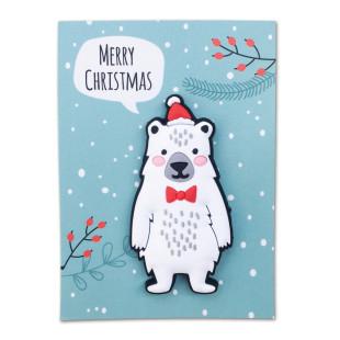 Eisbär Magnet mit Merry Christmas Kärtchen.