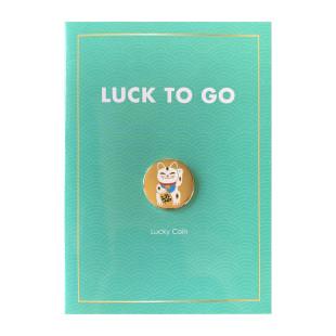 Goldene Glücksmünze mit Glückskatze - Glücksbringer Maneki Neko - winkende Katze. Glücksgeschenk Jungle Empire.