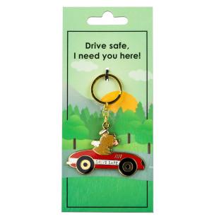 Glücksbringer für Autofahrer. Der Design Schlüsselanhänger Auto DRIVE SAFE von Jungle Empire.