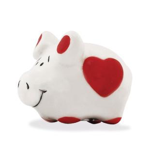 Mini Schwein mit Magnet aus Keramik, Herz
