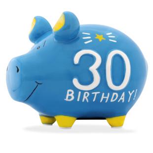 Hellblaues Sparschwein aus Keramik mit Schriftzug 30 Birthday!