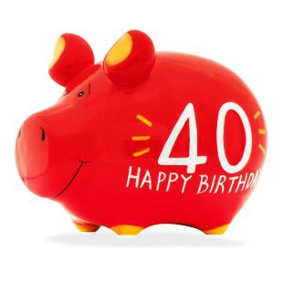 Rotes Sparschwein aus Keramik mit Schriftzug Happy Birthday zum 40. Geburtstag