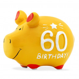 Sparschwein aus Keramik - Geburtstag 60. - lustiges Sparschweinchen in gelb mit Gummistopfen.