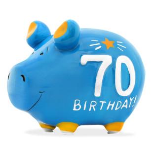 Sparschwein aus Keramik - Geburtstag 70. - lustiges Sparschweinchen in blau mit Gummistopfen.
