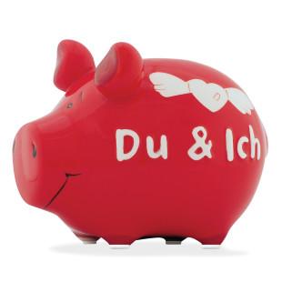 Das kleine, rote Sparschwein aus Keramik mit Schriftzug - Ich und Du.