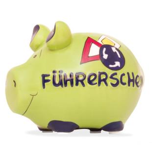 Kleines Sparschwein aus Kermaik und Schriftzug Führerschein.