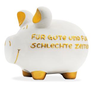 Großes Sparschwein aus Keramik mit Schriftzug: Für gute und für schlechte Zeiten!