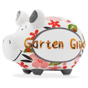 Sparschwein aus Keramik mit goldenem Schriftzug GARTENGLÜCK.